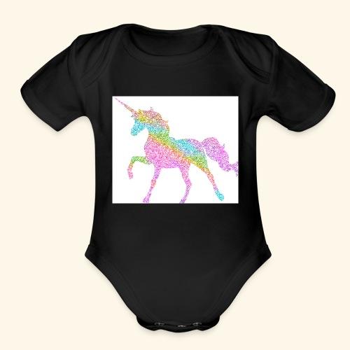 Cool Merch here by me it's unicorns - Organic Short Sleeve Baby Bodysuit