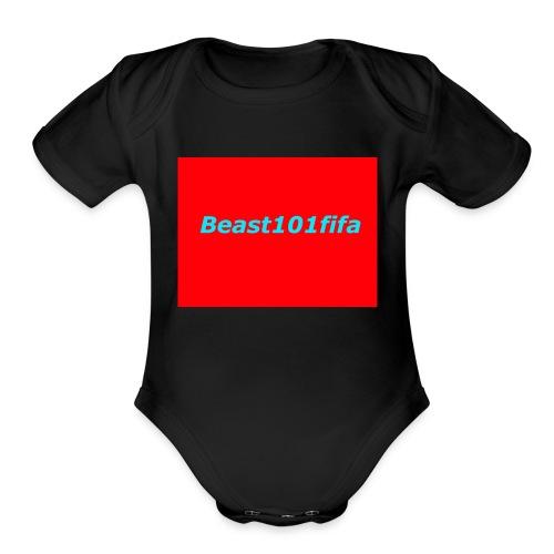 beast101fifa logo - Organic Short Sleeve Baby Bodysuit