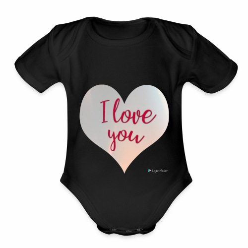 I love you heart - Organic Short Sleeve Baby Bodysuit