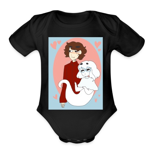 Valentines Day Cynical Ghost Shirt (By Meg Asia) - Organic Short Sleeve Baby Bodysuit