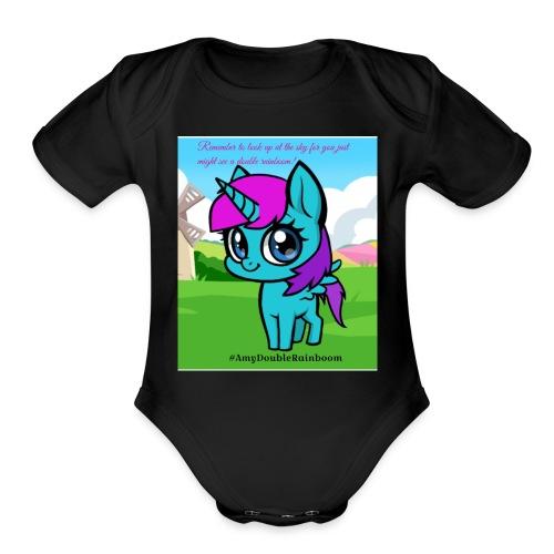 Cute rainboom - Organic Short Sleeve Baby Bodysuit