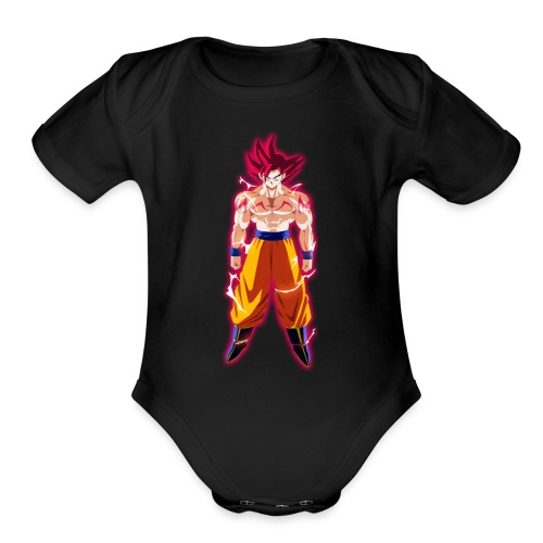 goku ssj god full power by theansemporofan003 d6mw - Organic Short Sleeve Baby Bodysuit