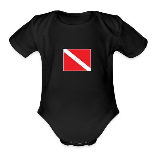 Scuba Diver Down Flag Distressed Look - Organic Short Sleeve Baby Bodysuit