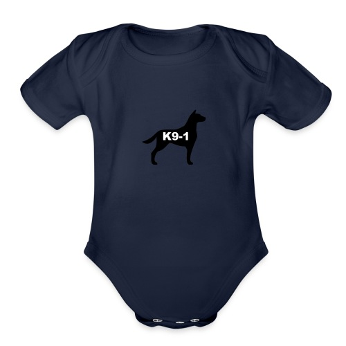 k9-1 Logo Large - Organic Short Sleeve Baby Bodysuit