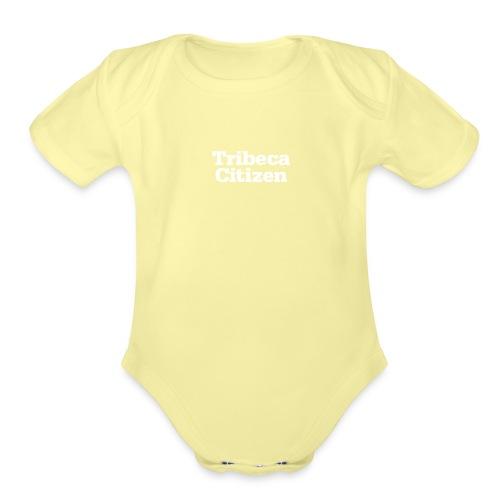 tribeca citizen stacked logo in white - Organic Short Sleeve Baby Bodysuit