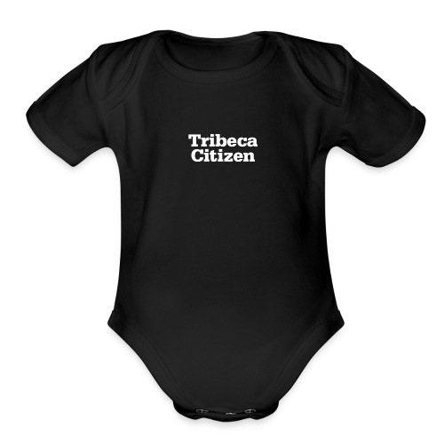 tribeca citizen stacked logo in white - Organic Short Sleeve Baby Bodysuit