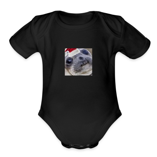 Christmas Seal - Organic Short Sleeve Baby Bodysuit