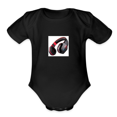 headphones - Organic Short Sleeve Baby Bodysuit