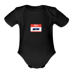 Hello! My name is Artsy. Collection - Short Sleeve Baby Bodysuit