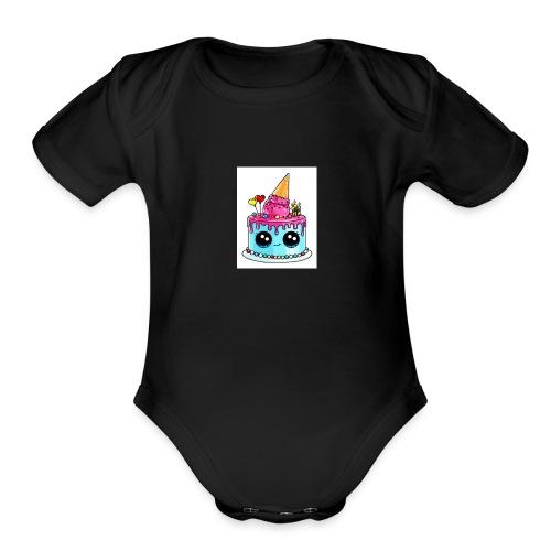 cute cake - Organic Short Sleeve Baby Bodysuit