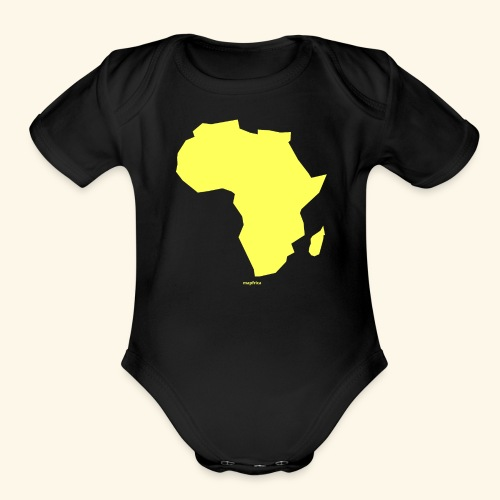 Africa Map Continent yellow - Organic Short Sleeve Baby Bodysuit