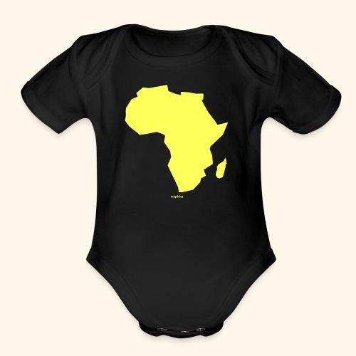 Africa Map Continent yellow - Organic Short Sleeve Baby Bodysuit