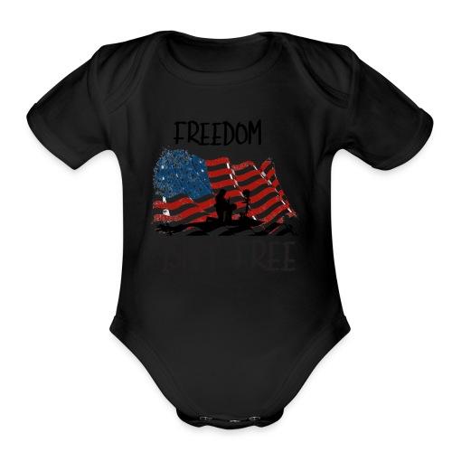 Freedom isn't free flag with fallen soldier design - Organic Short Sleeve Baby Bodysuit
