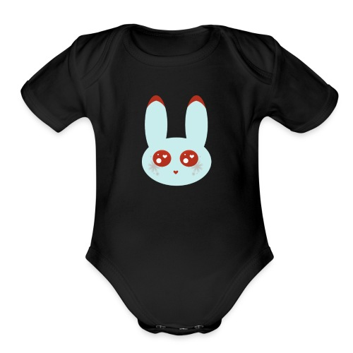blue bunny - Organic Short Sleeve Baby Bodysuit