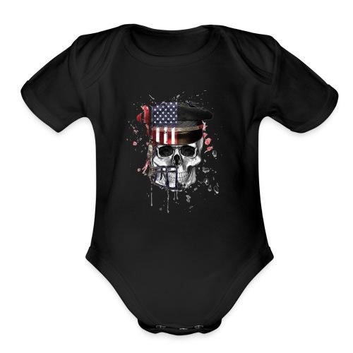American Flag Military Cap Skull collection - Organic Short Sleeve Baby Bodysuit