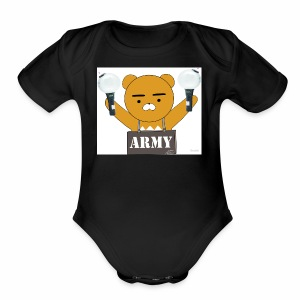 bts bear - Short Sleeve Baby Bodysuit