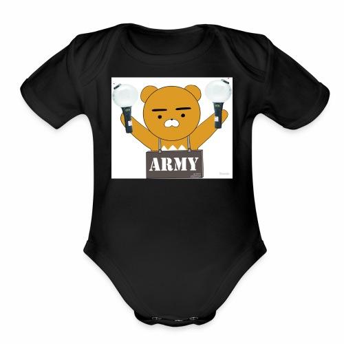 bts bear - Organic Short Sleeve Baby Bodysuit