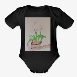 Pretty Pink, Peach and Violet Flowers - Short Sleeve Baby Bodysuit