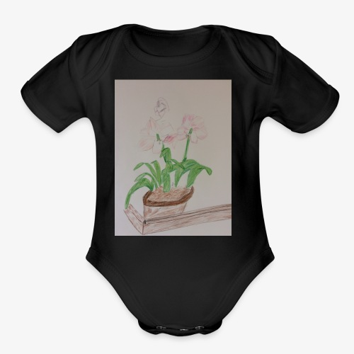 Pretty Pink, Peach and Violet Flowers - Organic Short Sleeve Baby Bodysuit