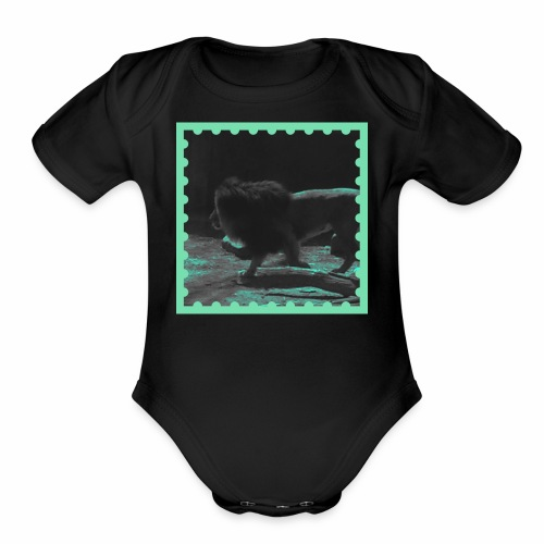 Lion on the prowl - Organic Short Sleeve Baby Bodysuit