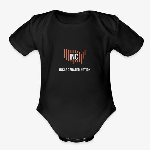INC Color TransparentBG Red White V - Organic Short Sleeve Baby Bodysuit