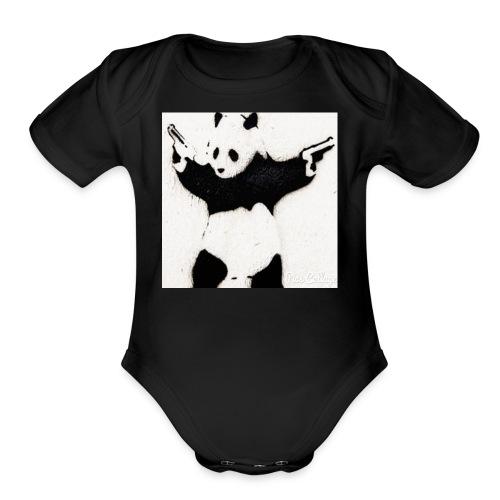 Double pistol panda's logo picture - Organic Short Sleeve Baby Bodysuit