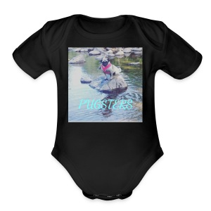 Pugsters Lucy on Rock - Short Sleeve Baby Bodysuit