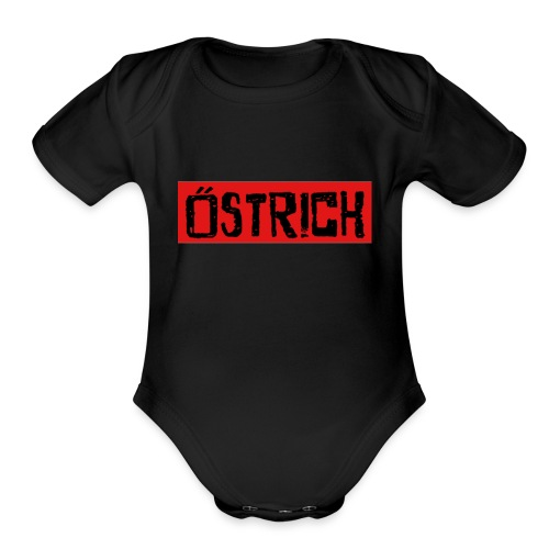 ostrich red back fold - Organic Short Sleeve Baby Bodysuit