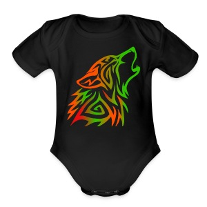 Howling Wolf - Short Sleeve Baby Bodysuit