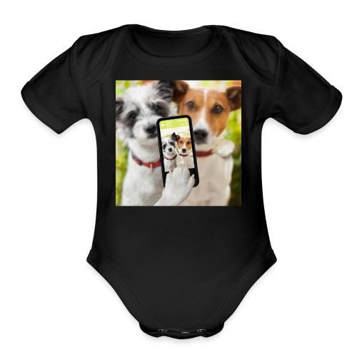 Dogs & Phone - Organic Short Sleeve Baby Bodysuit