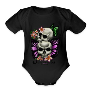 BUTTERFLY SKULLS WITH PLUMERIA - Short Sleeve Baby Bodysuit