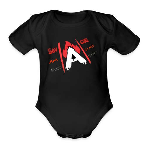 A-Game logo - Organic Short Sleeve Baby Bodysuit