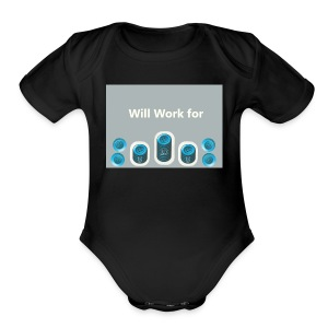 Will_work_for_buttons - Short Sleeve Baby Bodysuit