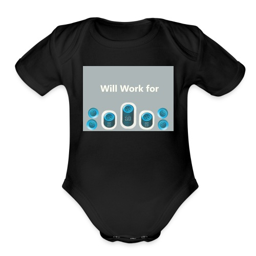 Will_work_for_buttons - Organic Short Sleeve Baby Bodysuit