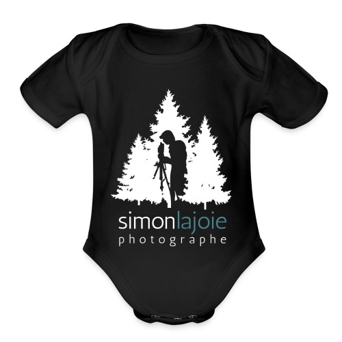 Logo Simon Lajoie Photographer White - Organic Short Sleeve Baby Bodysuit