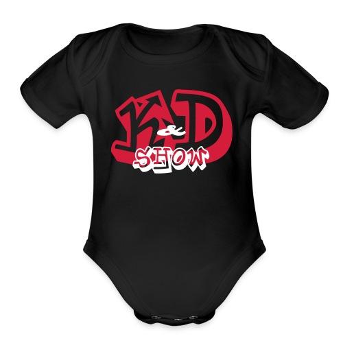 K&D Logo Black on Light Blue - Organic Short Sleeve Baby Bodysuit
