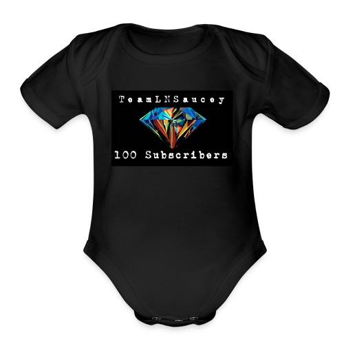 100 Subscribers T-Shirts - Organic Short Sleeve Baby Bodysuit