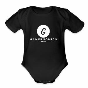 white logo - Short Sleeve Baby Bodysuit
