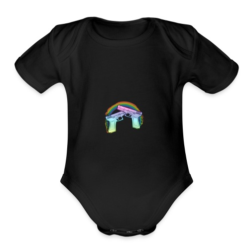 Rainbow guns - Organic Short Sleeve Baby Bodysuit