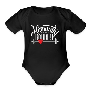 Humanity Barbell White w/Red Heart - Short Sleeve Baby Bodysuit