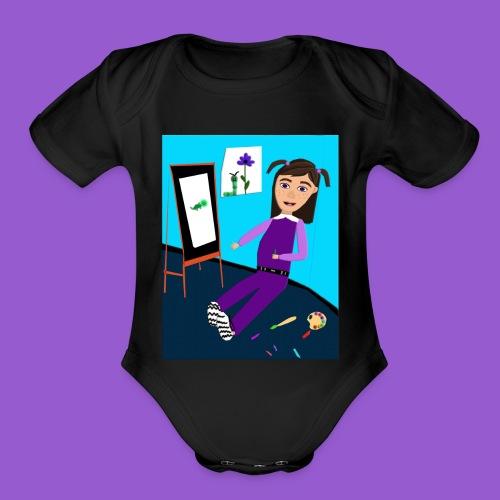 painting toddler - Organic Short Sleeve Baby Bodysuit