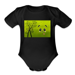 panda cuteness - Short Sleeve Baby Bodysuit