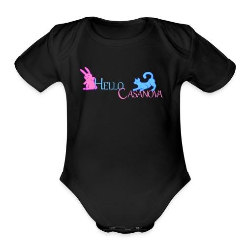 hello casanova iii - Organic Short Sleeve Baby Bodysuit