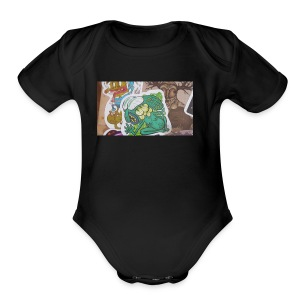 Sticker tag swetters and t shirts and hoodies - Short Sleeve Baby Bodysuit