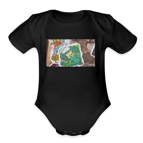 Sticker tag swetters and t shirts and hoodies - Organic Short Sleeve Baby Bodysuit