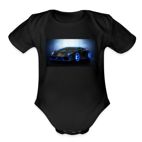 lamborghini black back ground - Organic Short Sleeve Baby Bodysuit