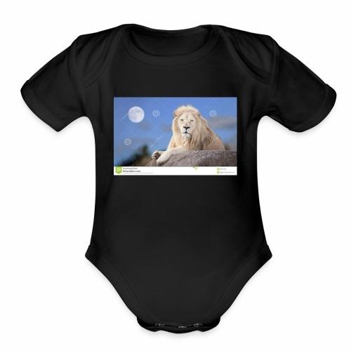 white lion moon light 62073026 - Organic Short Sleeve Baby Bodysuit