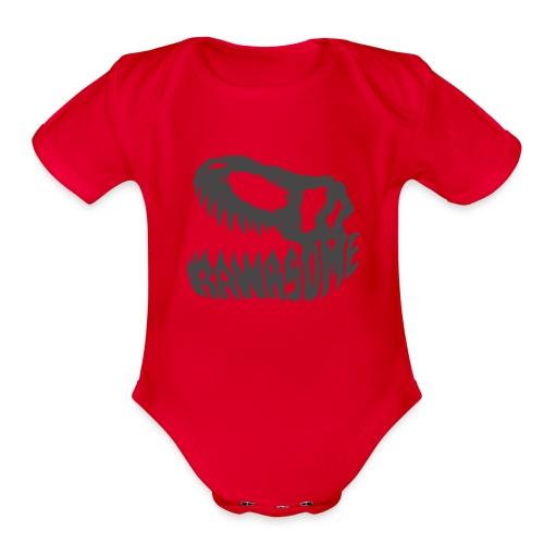 RAWRsome T Rex Skull by Beanie Draws - Organic Short Sleeve Baby Bodysuit