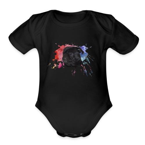 Pug Paint Splatter - Organic Short Sleeve Baby Bodysuit
