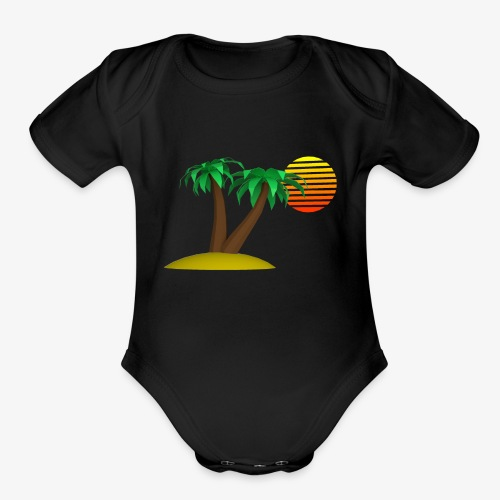 Palm Trees and Sun - Organic Short Sleeve Baby Bodysuit